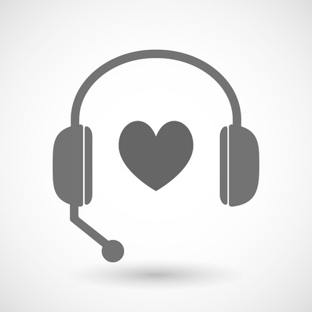 hands free: Illustration of an isolated hands free headset icon with  the heart poker playing card sign