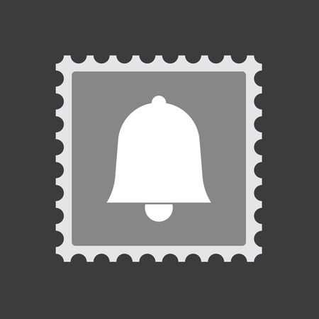 alerts: Illustration of an isolated  mail stamp icon with a bell