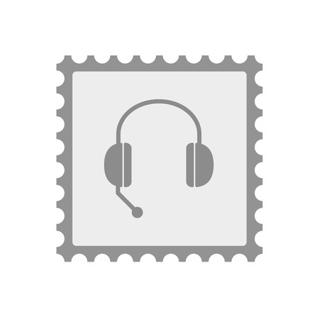 hands free phone: Illustration of an isolated  mail stamp icon with  a hands free phone device
