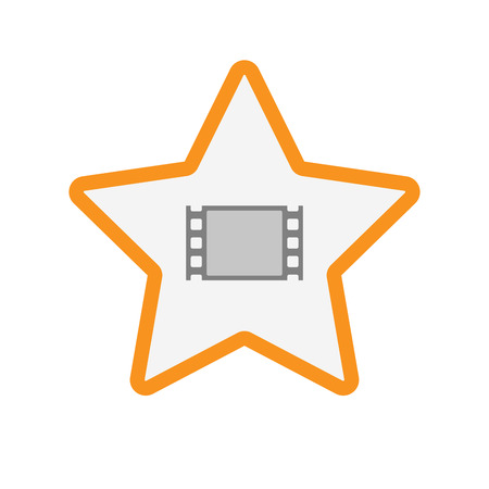 Illustration of an isolated  line art star icon with a film photogram Illustration