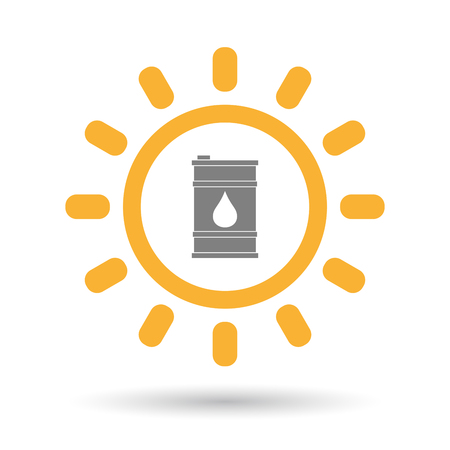 oil drum: Illustration of an isolated  line art sun icon with a barrel of oil