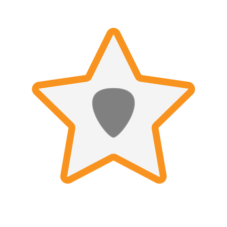 plectrum: Illustration of an isolated  line art star icon with a plectrum