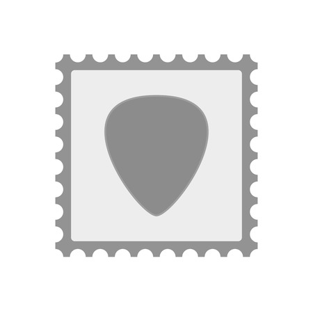 plectrum: Illustration of an isolated  mail stamp icon with a plectrum