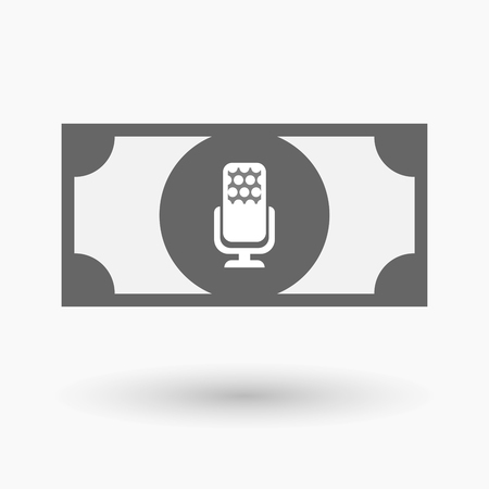 bank records: Illustration of an isolated bank note icon with  a microphone sign