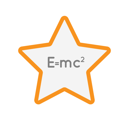 Illustration of an isolated  line art star icon with the Theory of Relativity formula Illustration