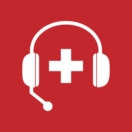 hands free: Illustration of an isolated hands free headset icon with   the Swiss flag