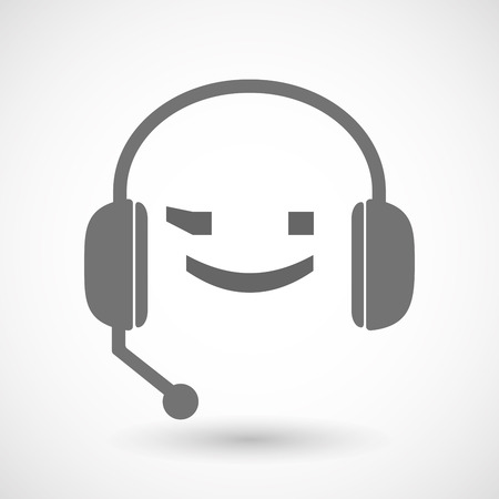 face with headset: Illustration of an isolated hands free headset icon with  a wink text face emoticon