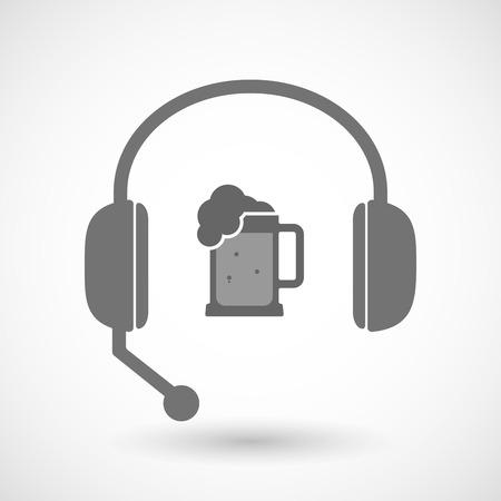 tarro cerveza: Ilustración de un icono de los auriculares sin manos aisladas con un icono de jarra de cerveza