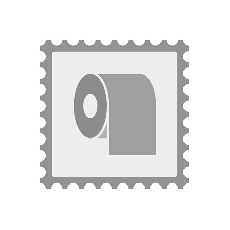 absorbent: Illustration of an isolated  mail stamp icon with a toilet paper roll