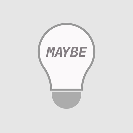 maybe: Illustration of an isolated line art light bulb icon with    the text MAYBE