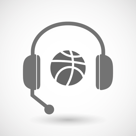 hands free: Illustration of an isolated hands free headset icon with  a basketball ball Illustration