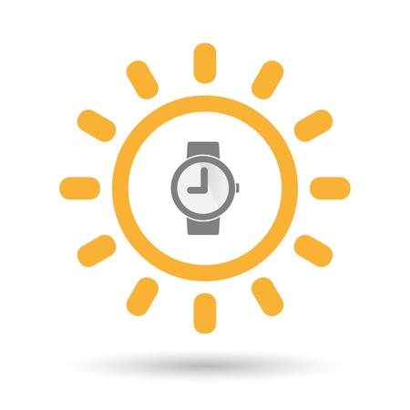 puntualidad: Ilustración de un icono aislado sol línea de arte con un reloj de pulsera Vectores