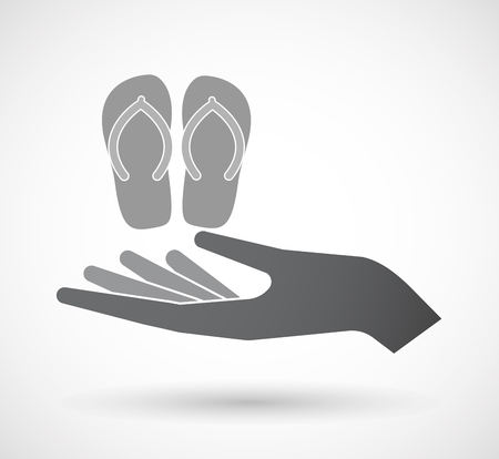 Illustration of an isolated offerign hand icon with   a pair of flops Illustration