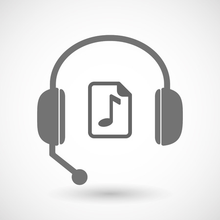 music score: Illustration of an isolated hands free headset icon with  a music score icon Illustration