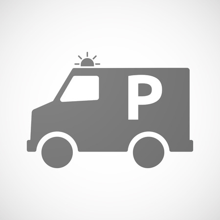 valet: Illustration of an isolated ambulance icon with    the letter P