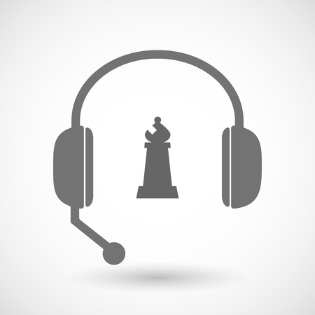 Illustration of an isolated hands free headset icon with a bishop    chess figure