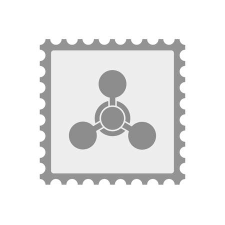 Illustration of an isolated  mail stamp icon with a chemical weapon sign