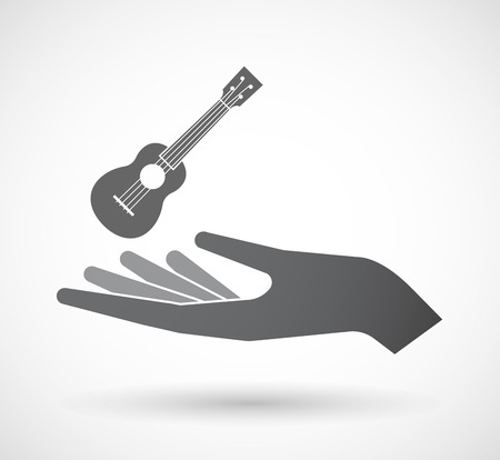 Illustration of an isolated offerign hand icon with  an ukulele Illustration
