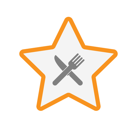 Illustration of an isolated  line art star icon with a knife and a fork