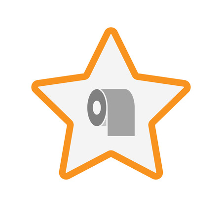 absorbent: Illustration of an isolated  line art star icon with a toilet paper roll Illustration