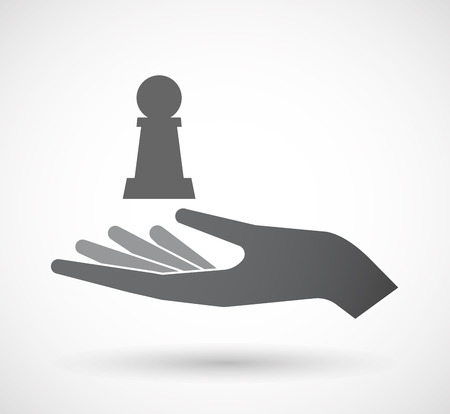 Illustration of an isolated offerign hand icon with a  pawn chess figure Illustration