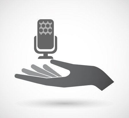 Illustration of an isolated offerign hand icon with  a microphone sign