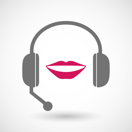 hands free: Illustration of an isolated hands free headset icon with  a female mouth smiling