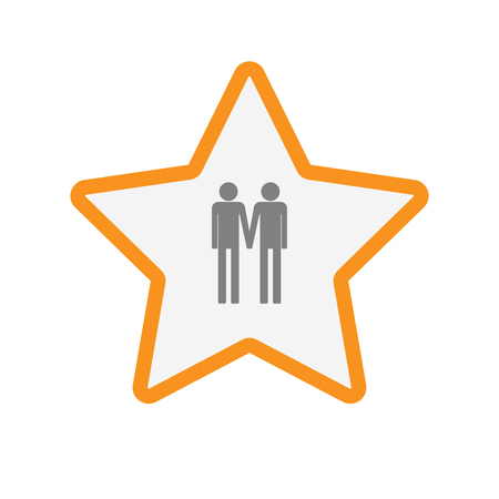 Illustration of an isolated  line art star icon with a gay couple pictogram Illustration