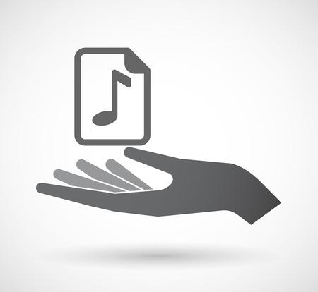 partition musique: Illustration d'une ic�ne offerign isol� main avec une ic�ne de partition Illustration