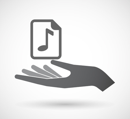 music score: Illustration of an isolated offerign hand icon with  a music score icon Illustration