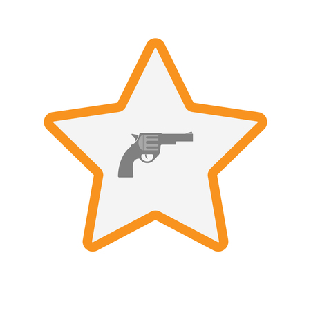 Illustration of an isolated  line art star icon with a gun