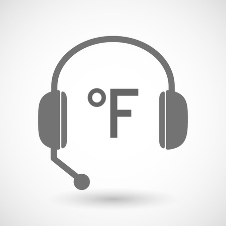 hands free: Illustration of an isolated hands free headset icon with  a farenheith degrees sign