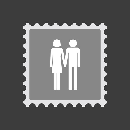 heterosexual: Illustration of an isolated  mail stamp icon with a heterosexual couple pictogram