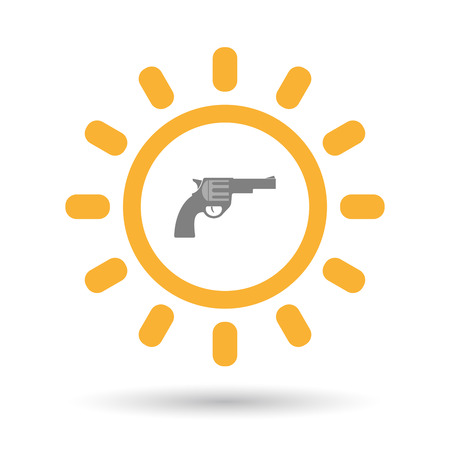 Illustration of an isolated  line art sun icon with a gun