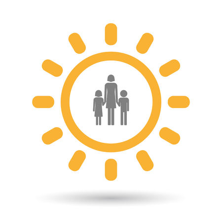 single parent: Illustration of an isolated  line art sun icon with a female single parent family pictogram Illustration