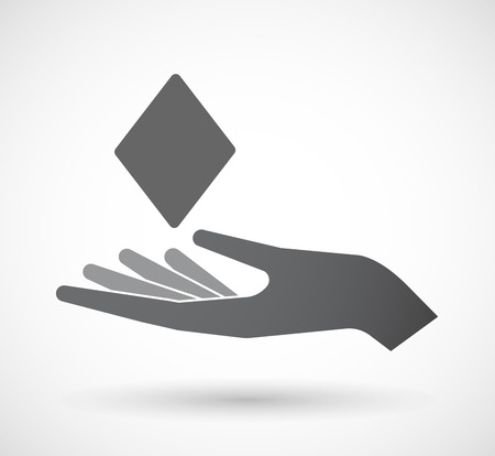 Illustration of an isolated offering hand icon with  the  diamond  poker playing card sign
