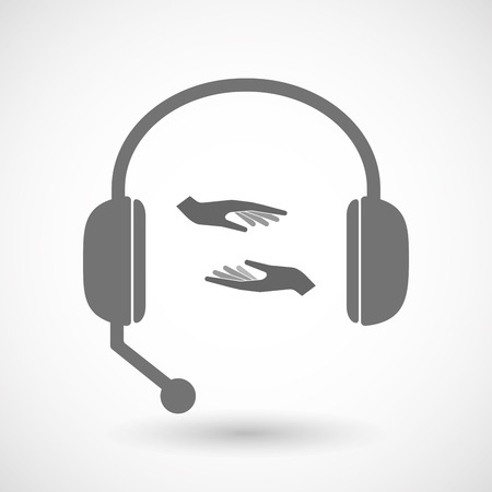 hands free: Illustration of an isolated hands free headset icon with  two hands giving and receiving  or protecting