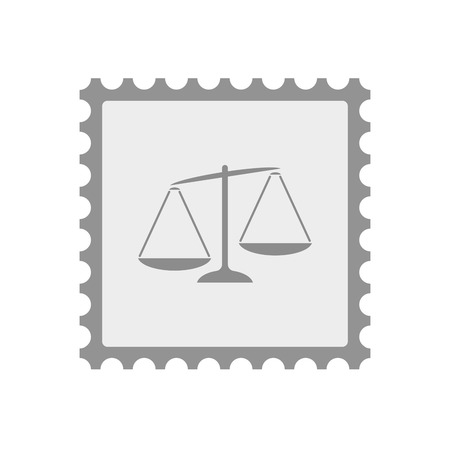 inequality: Illustration of an isolated  mail stamp icon with  an unbalanced weight scale