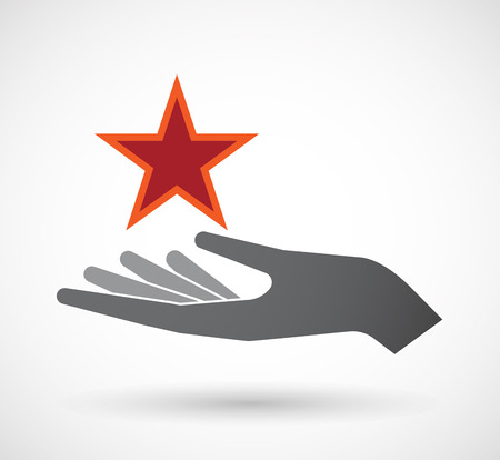 Illustration of an isolated offerign hand icon with  the red star of communism icon Illustration