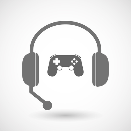 telemarketer: Illustration of an isolated hands free headset icon with  a game pad
