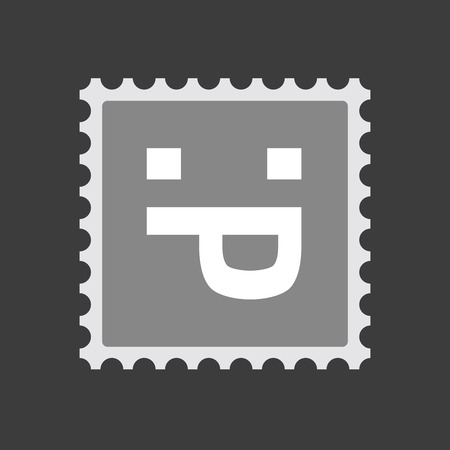sacar la lengua: Illustration of an isolated  mail stamp icon with a sticking out tongue text face