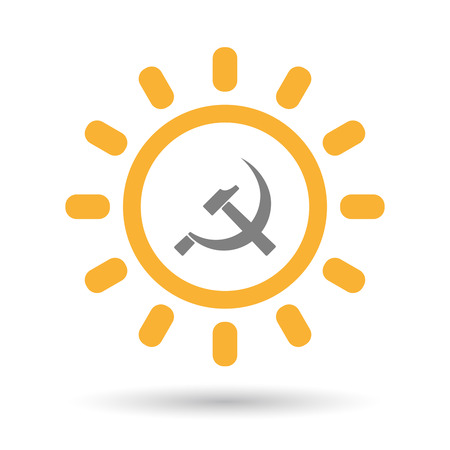 Illustration of an isolated  line art sun icon with  the communist symbol Illustration