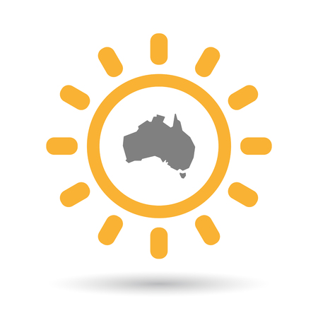 Illustration of an isolated  line art sun icon with  a map of Australia Illustration
