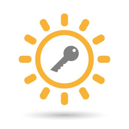 llave de sol: Ilustraci�n de un icono aislado sol l�nea de arte con una llave