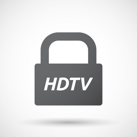 hdtv: Illustration of an isolated closed lock pad icon with    the text HDTV Illustration