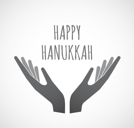Illustration of two hands offering with    the text HAPPY HANUKKAH