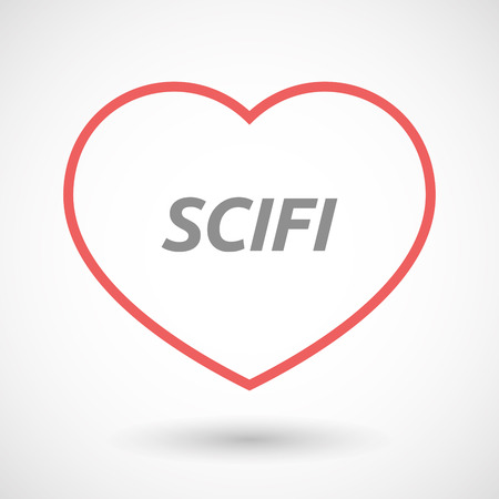 seduction: Illustration of an isolated line art heart icon with    the text SCIFI Illustration