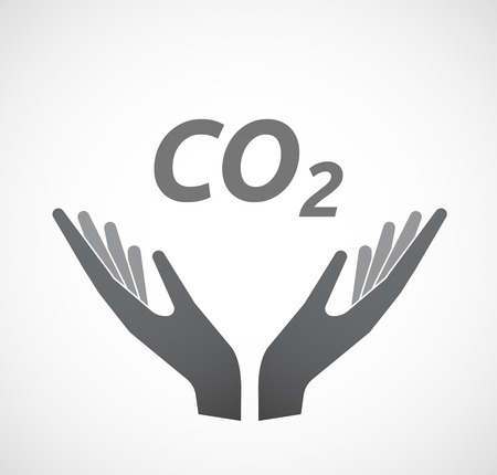 Illustration of two hands offering with    the text CO2 Illustration