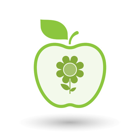 Illustration of an isolated  line art apple icon with a flower