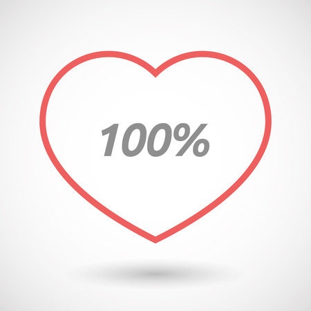 seduce: Illustration of an isolated line art heart icon with    the text 100%